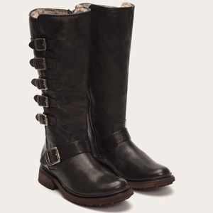 Frye Valerie belted tall shearling black 8.5